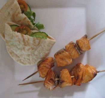 Oriental Style Glazed Salmon Kebabs - Photo.JPG