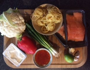 Dunrobin Valley Sweet Chilli Salmon with Pasta